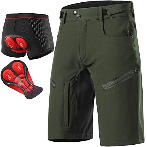 Beylore Pantaloncini Ciclismo Uomo MTB Gel Imbottiti Traspirante Pad 3D Estivo Pantaloncini da Bici Pantaloni MTB Enduro per Ciclismo da Montagna Cicismo su Strada,Army Green,L