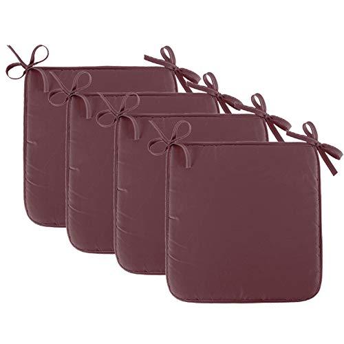 4 Pcs Galette de Chaise Coussin éponge Couleur Unie 45x40x1 cm Coussin de Chaise Déhoussable et Lavable pour Exterieur Intérieur (Brown)