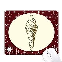 ブラウン手図面の甘いアイスクリーム オフィス用雪ゴムマウスパッド