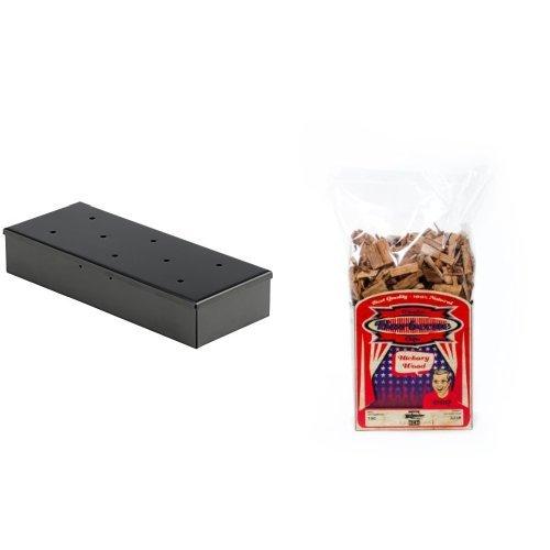 Bruzzzler Räucherbox, Smokerbox, 22,5 x 9 x 4 cm + Axtschlag Räucherchips Hickory 1 kg, mehrfarbig