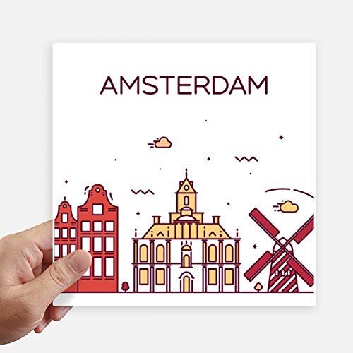 DIYthinker Amsterdam Platte Landmark Vierkante Stickers 20Cm Wandkoffer Laptop Motobike Decal 4 Stks