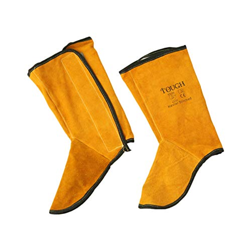 Cowhide Leather Flame Retardant leather Welding Spats Safety Boot, Fireproof Flower Splash, Flameproof Heat Abrasion Resistant, Protection Welder Foot and Legs