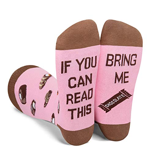 HAPPYPOP Witzige Schokoladen-Socken zum Lesen, Geschenk für Bibliothek, Buchliebhaber, Bücherwurm, Nerd - - Medium