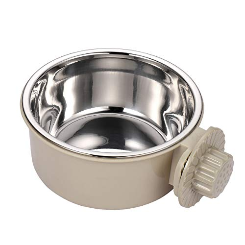 Balacoo Dog Cage Bowl Heat-Resistant Pets Stainless Steel Hanging Drinking Bowl Portable Pet Water Dispenser Feeder for Dog Puppy Cat