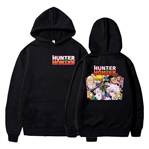 KIACIYA Hunter x Hunter Sudadera para Hombre Mujere Hunter x Hunter Estampada Sudadera Anime Cosplay Sudadera para Fanáticos del Anime Japonés Killua Hisoka Kurapika Leorio (black4,XXS)