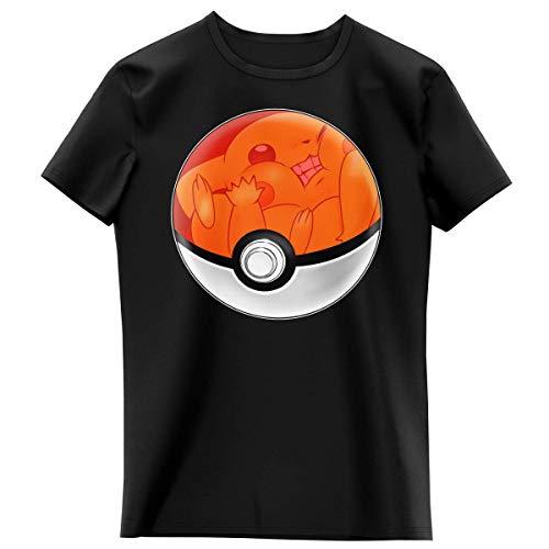 Okiwoki T-Shirt Enfant Fille Noir Parodie Pokémon - La Poké Ball de Pikachu - Pika Pas Cool ! (T-Shirt Enfant de qualité Premium de Taille 12 Ans - imprimé en France)