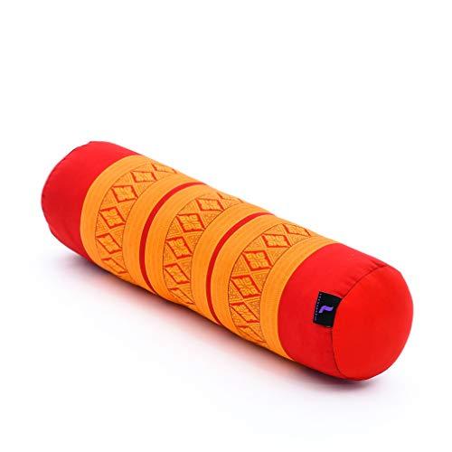 Leewadee Yoga Bolster Piccolo: Supporto per Pilates Allungato e Cuscino da Meditazione, Realizzato a Mano in kapok Ecologico, 55 x 15 x 15 cm, Arancione Rosso