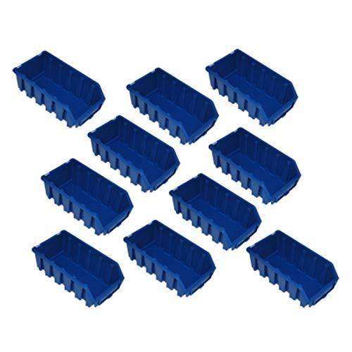 10x Gr.2L Blau Lagerboxen Kunststoff Stapelboxen Lagerkiste Box Sortimentskasten Lagerbehälter Aufbewahrungsbox Werkstatt Kasten Sichtlagerkasten Stapelkiste Lager Regalbox Stapelkästen Stapelkisten Sichtlagerbox