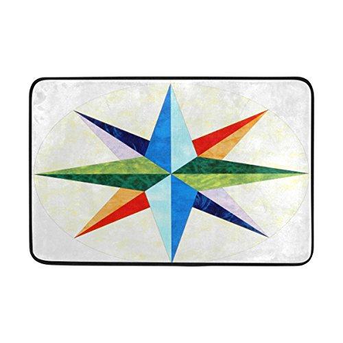 COOSUN Marineros Brújula Felpudo, Entrada de Forma Cubierta Exterior Alfombra Puerta con Cubierta Antideslizante, (23,6 por 15,7 Pulgadas) 23.6x15.7 Pulgadas