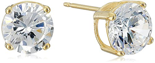 Amazon Essentials Yellow Gold Plated Sterling Silver Round Cut Cubic Zirconia Stud Earrings (7.5mm)