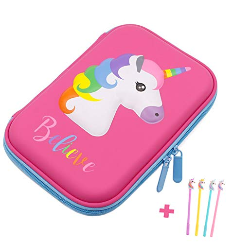 Pencil Case, iDelta 3D Cute EVA Unicorn Pen Pouch Stationery Box Anti-Shock Large Capacity Multi-Compartment for School Students Teens (Unicorn1 Pink)