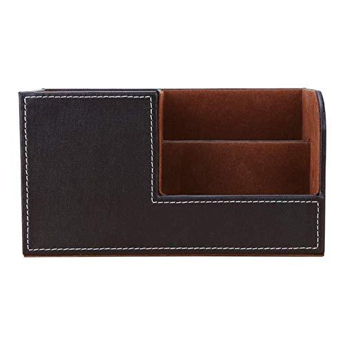 Cuero de PU de madera Multifunción Escritorio de papelería Organizador Caja de almacenamiento Lápiz Lápiz Teléfono Celular Nombre de negocios Titular (Color : Brown2)
