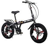 SHIN 20 Pulgadas Plegable De Aluminio Bicicleta De Paseo Mujer Bici Plegable Adulto Ligera Unisex Folding Bike Manillar Y Sillin Confort Ajustables,7 Velocidad,Capacidad 140kg / Black