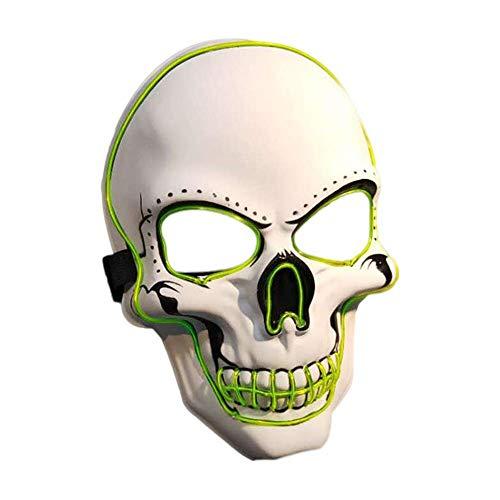 QYHSS MáScaras LED MáScara Purga Halloween, MáScara de Calavera, con 3 Modos Flash, para Halloween, Carnaval, Carnaval, Fiesta, Cosplay de Disfraces, DecoracióN (Blanco)