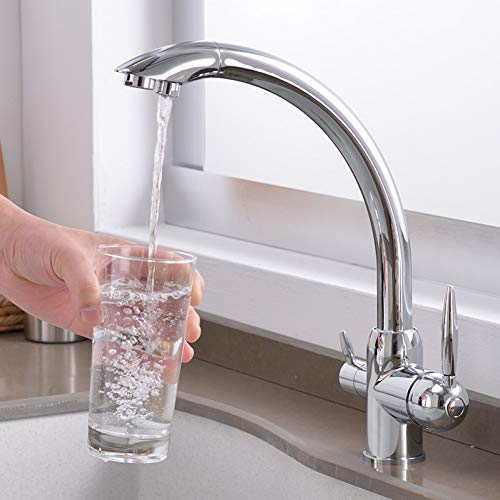 TAOZIAA waterreiniger voor thuis keukenkraan waterkraan koud- en warmwastafel van verchroomd messing, dubbele uitgang.