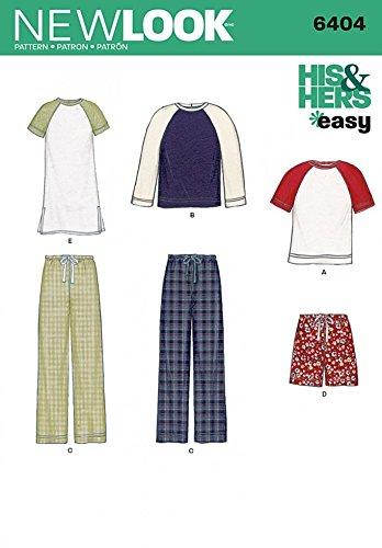 New Look Damen & Herren Leicht Schnittmuster 6404Schlafanzug