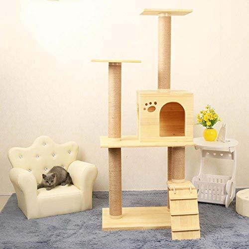 Axiba Spelen Torens Bomen voor Katten Effen hout kat klimmen frame kat nest kat Boom kat springen platform voor het slapen spelletjes 138cm
