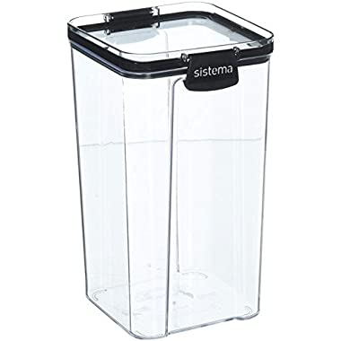 Sistema Ultra Collection Square Food Storage Container, 43.9 oz./1.3 L Clear/Black