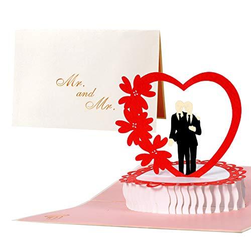 Edle Karte für eine Hochzeit eines Schwulen Pärchens, Hochzeitskarte Schwule, Zwei Männer, Glückwunschkarte Ehe Männer, L15