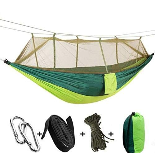 FENGSZ Portable Hammock With Mosquito Net Camping Hanging Bed Swing Chair Hanging Chair,260 * 140Cm,Load Capacity Up To 440 Lbs,E
