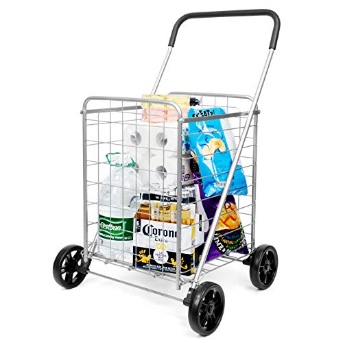 SUPENICE Grocery Utility Shopping Cart - Deluxe Utility Cart with Oversized Basket and Tool Free Installation Light Weight Folding Cart with Wide Cushion Handle Bar for Laundry Book Luggage Travel