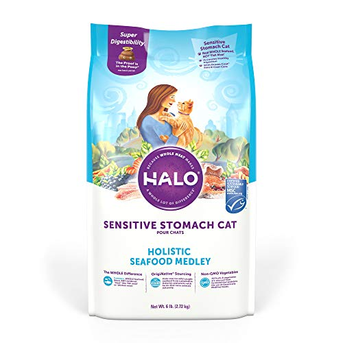 Halo Natural Dry Cat Food - Sensitive Stomach Recipe - Premium and Holistic Seafood Medley - 6 Pound Bag - Sustainably Sourced Adult Dry Cat Food - Real Whole Meat, Highly Digestible, Non-GMO