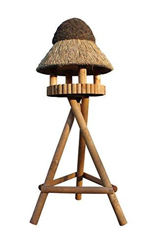 REETDACH VOGELVILLA MASUREN 5 Kiefer 185x75x75 Vogelhaus Futterhaus mit Ständer