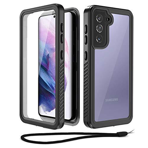Beeasy Hülle Kompatibel mit Samsung Galaxy S21, IP68 Zertifiziert wasserdichte Outdoor Handyhülle, 360 Grad Schutzhülle mit Displayschutz, Staubdicht Sturzfest Stoßfest Bumper Cover Case,Schwarz