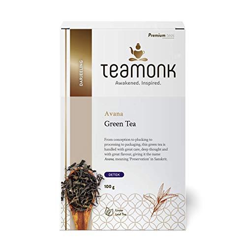 Teamonk Darjeeling Organic Green Tea for Weight Loss,(50 Cups) | 100% Natural Loose Leaf Tea | Avana Green Tea for Weight Loss | No Additives, USDA Organic Certified, 100 g