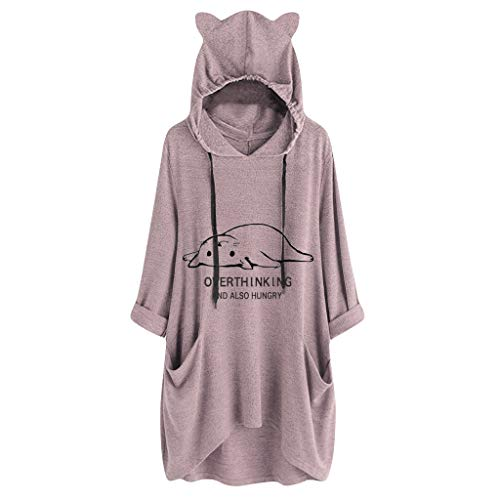 iHENGH Damen Top Bluse Lässig Mode T-Shirt Frühling Sommer Frauen Bequem Blusen Casual Print Lange Ärmel Seitentasche Mit Kapuze Unregelmäßige Tops Shirts(Rosa-5, M)