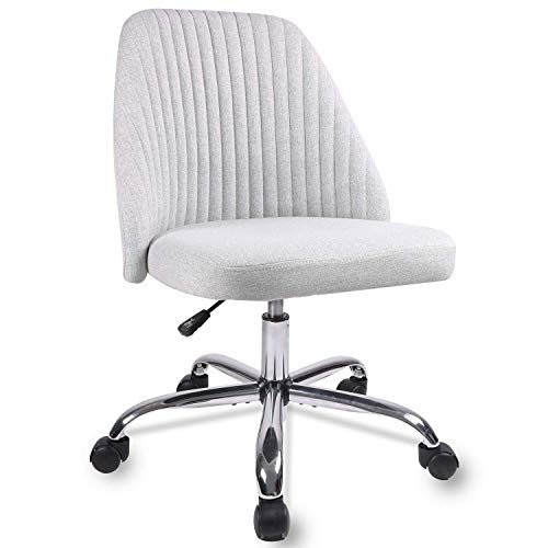 Home Office Chair, Modern Twill Fabric Chair Adjustable Desk Chair Mid-Back Task Chair Ergonomic Executive Chair-Grey