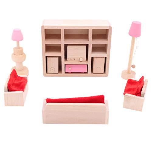 POFET Niños Sala de Estar de Madera Casa de muñecas Muebles en Miniatura Sofá Gabinete Juego de Juguetes Muñeca Familia Juegos de imaginación Accesorios