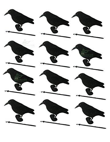 Beflockte Krähen in voller Größe, Lockvogel/Vogelattrappe, mit Füßen und Schnabel, 12 Stück