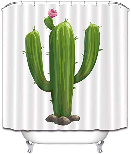 N / A Néctar de Cactus en el Desierto Azalea Mexicana Familia antibacteriana Cortina de Ducha Decorativa Impermeable y antimoho A52 120x180cm