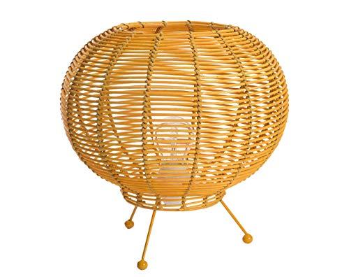 LUSSIOL Luminaire Korba jaune, lampe décorative rotin, 60 W, jaune, ø 30 x H 26 cm
