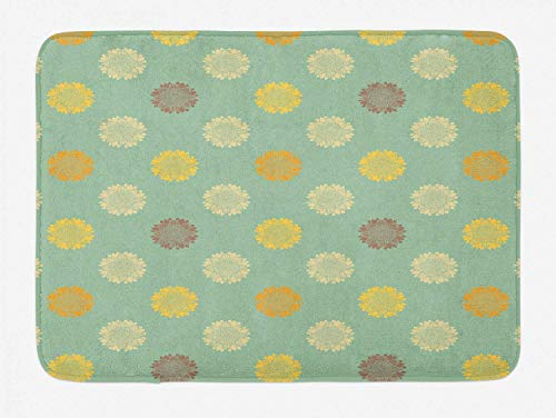 JOOMI Sunflower Bath Mat, Repetitive Meadow Flower Rustic Countryside Flair, Bathroom Mat with Non Slip Backing