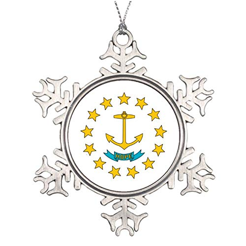 Yilooom State Flag of Rhode Island - Flat Ornament -Christmas/Holiday/Love/Anniversary/Newlyweds/Keepsake - 3