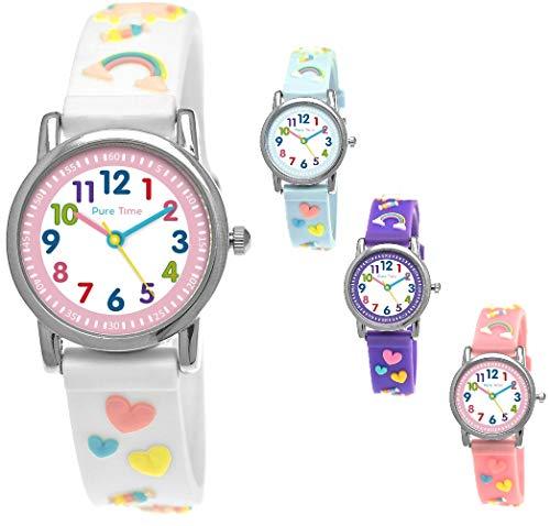 Pure Time® Eenhoorn Unicorn kinderhorloge meisjeshorloge kinderarmbandhorloge paarden pony dier silicone armband meisjes horloge kinderhorloge wit roze paars turquoise geel leer-klok 3D (wit)