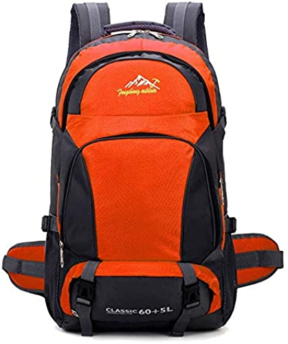 65l Unisex noir Backpack Travel Pack Sports Bag Pack Outdoor Mountaineering Hiking Camping Sac à Dos pour male Orange
