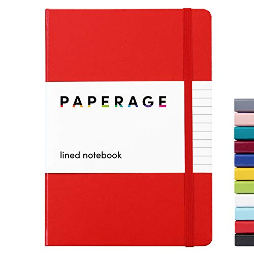 Paperage Lined Journal Notebook, Hard Cover, Medium 5.7 X 8 inches, 100 gsm Thick Paper. Use for Office, Home, School, or Business (Red, Ruled)