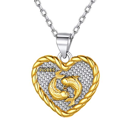 Zodiac Heart Pendant Pisces Constellation Necklace for Women 925 Sterling Silver Astrology Jewelry Birthday Gift