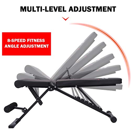Adjustable Weight Bench, Foldable Workout Bench, Sit Up Incline Abs Bench Flat Fly Strength Training Bench, Training Utility Bench for Full Body Workout (Black)