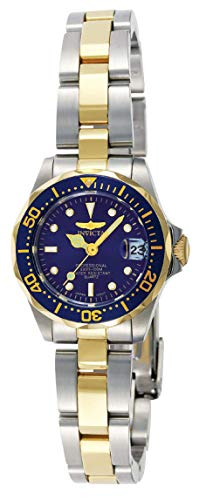Invicta Women's Pro Diver 24.5mm Steel and Gold Tone Stainless Steel Quartz Watch, Two Tone/Blue (Model: 8942)