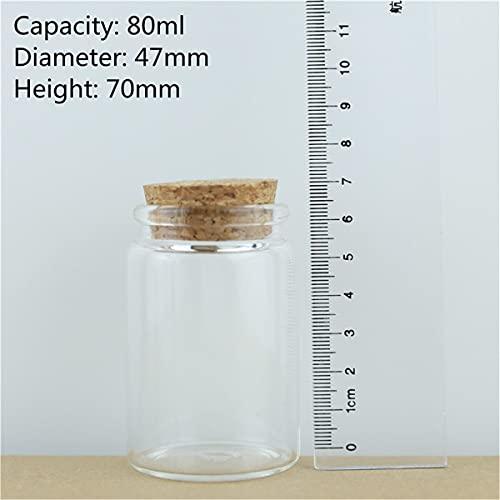 NLLeZ 2 4pcs 4 7mm de diámetro de Corcho Botellas de Vidrio Spice Tarras de Caramelo Envío de Caramelo Frascos de frascos Tapón Tapón Transparente Botella de Vidrio Bricolaje Envase (Color : 80ml)