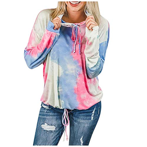 Women Fashion Hoodies Sweatshirts Autumn Winter Round Neck Gradient Color Long-Sleeved Pullover Tops E-Scenery