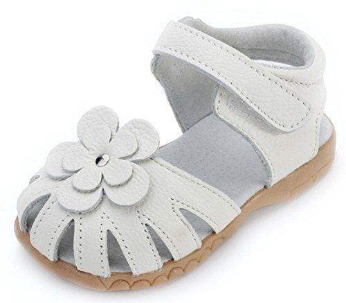 Femizee Girls Genuine Leather Soft Closed Toe Princess Flat Shoes Summer Sandals(Toddler/Little Kid) White,1504 CN21