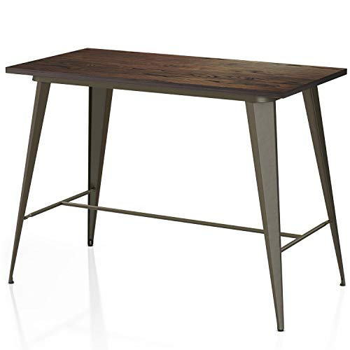 VIPEK 35.43 Inches Metal Counter Height Dining Table with Rectangle Solid Elm Wooden Table Top for Bistro Pub Table Farmhouse Home Kitchen Dining Bartable Rustic Style, Gun Color