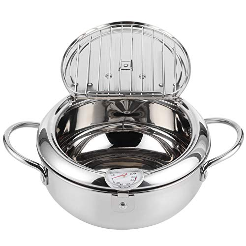 NITRIP Olla para freír Resistente a Altas temperaturas con Mango frío, Olla Japonesa fácil de Limpiar, para Cocina casera(Large 24cm)