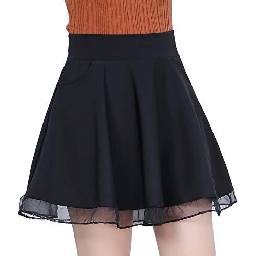 DISSA BD1208 - Falda plisada para mujer Negro 38