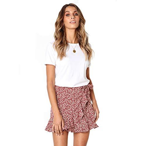 Röcke Damen Kurz Sommer Unregelmäßig Rüschen Minirock mit Gürtel Casual Skater Rock Volantrock